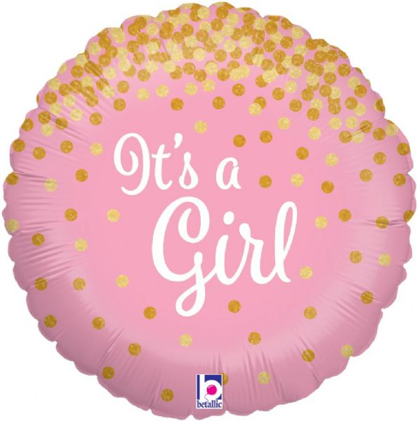Glittering It's a Girl Foil Balloon